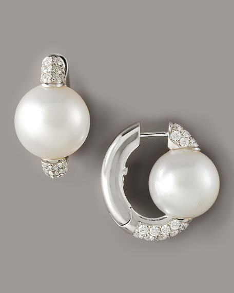 Pearl & Diamond Huggie Earrings