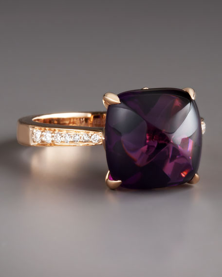 Jelly Bean Amethyst & Diamond Ring