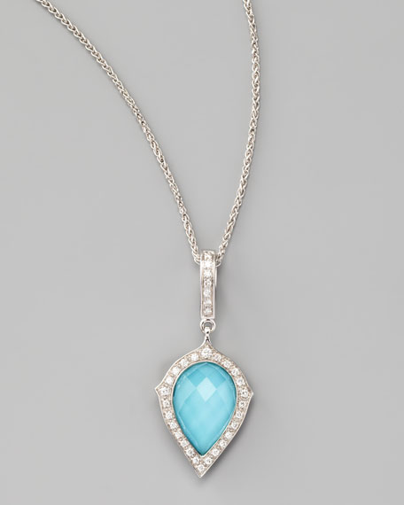 Diamond & Turquoise Pear Pendant Necklace