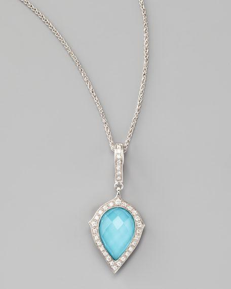 Diamond & Turquoise Pear Pendant Necklace