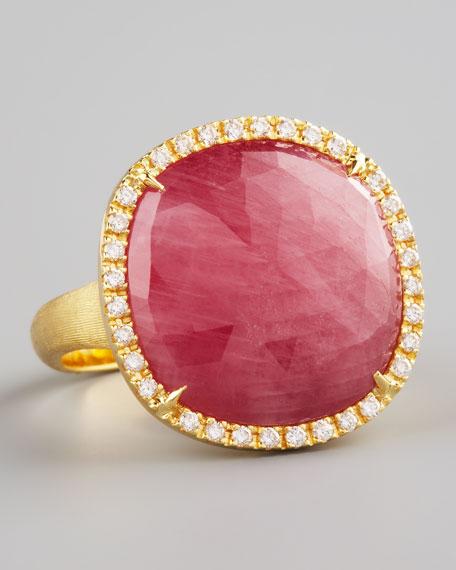 Jaipur Red Sapphire & Diamond Ring
