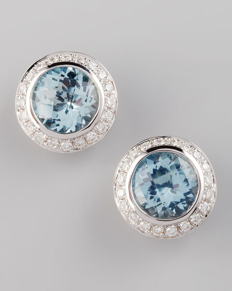 Frederic Sage Mini Aquamarine Diamond Earrings