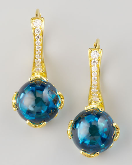 Jelly Bean Topaz & Diamond Earrings, Yellow Gold