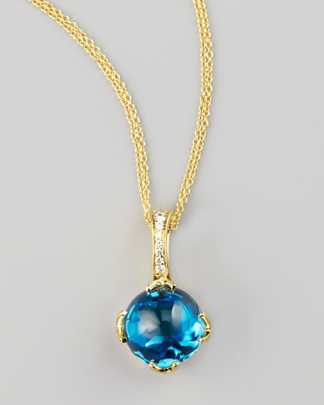 Jelly Bean Topaz Pendant Necklace, Yellow Gold