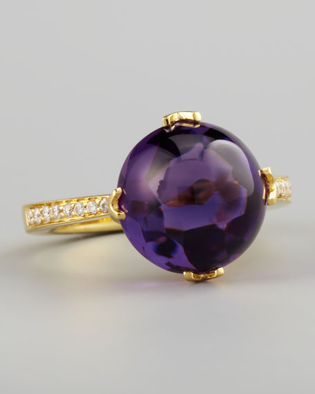 Jelly Bean Amethyst & Diamond Ring, Yellow Gold