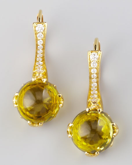 Jelly Bean Citrine & Diamond Drop Earrings