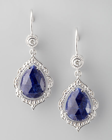 Scalloped Diamond & Sapphire Earrings