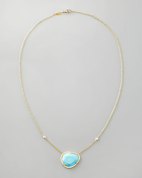Diamond-Trimmed Turquoise Pendant Necklace