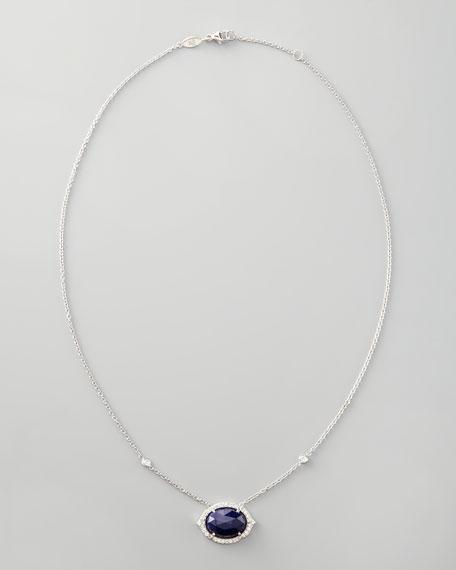 Diamond-Trimmed Sapphire Pendant Necklace