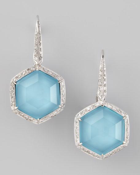 Pave Diamond Art Deco Drop Earrings
