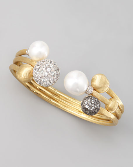 Africa Pave Sapphire & Pearl Gold Bangle