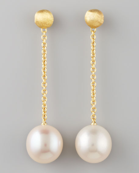 Africa Long Single-Pearl Drop Earrings