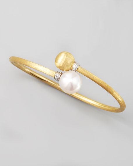 Africa Pave Diamond Pearl & Gold Bangle