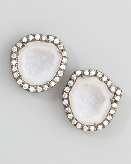 Geode & Diamond Stud Earrings