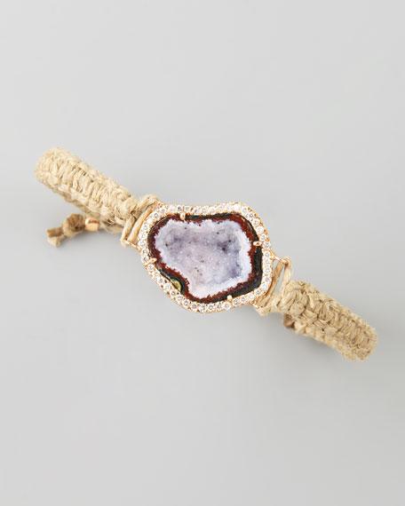 Geode & Diamond Macrame Bracelet, Hemp