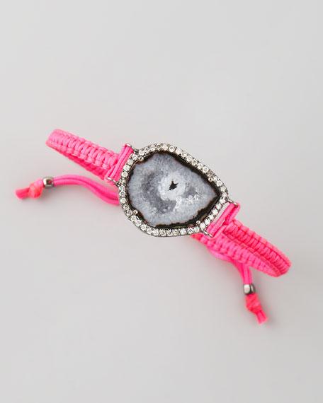 Geode & Diamond Macrame Bracelet, Pink