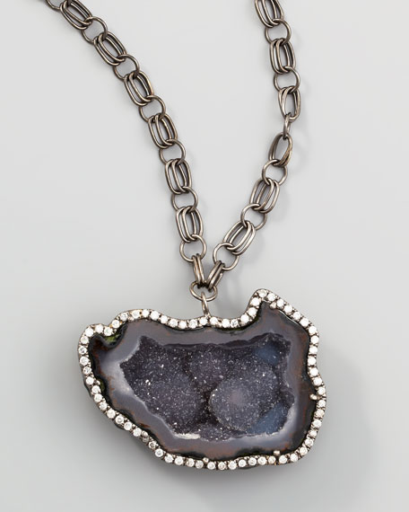 "Long Geode & Diamond Pendant Necklace, 28""L"