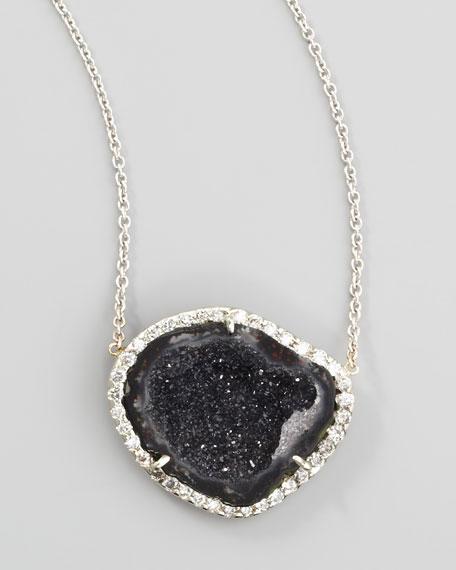 "Geode & White Diamond Pendant Necklace, 17"""