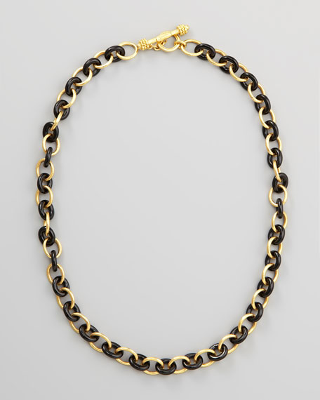 "19k Gold & Black Jade Chain Necklace, 21""L"