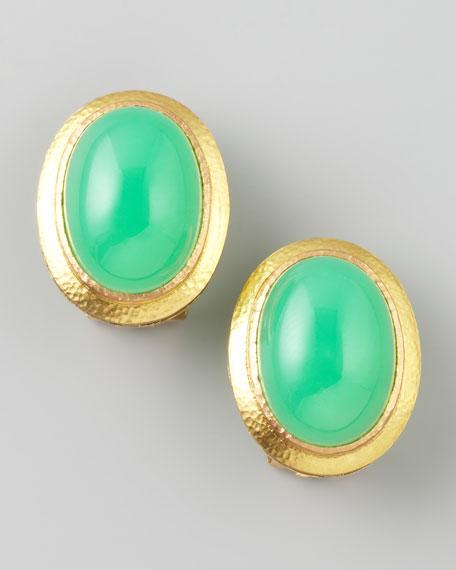 Chrysoprase 19k Gold Clip/Post Earrings