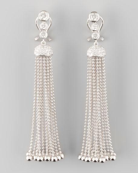 Swing Diamond and Gold Ball Tassel Earrings, D/SI1