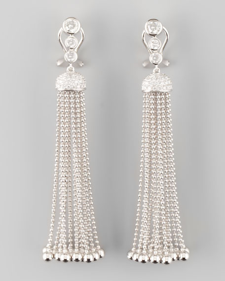 Swing Diamond and Gold Ball Tassel Earrings, G/VS2