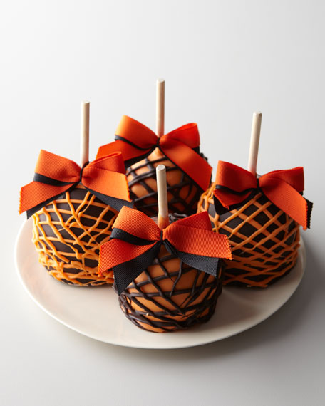 Four Halloween Caramel Apples