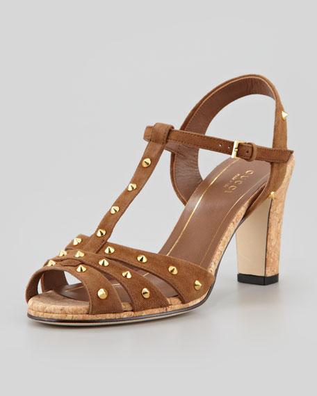 Jacquelyne Low-Heel Studded Sandal