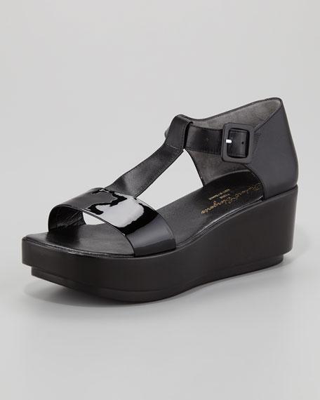 Pepo T-Strap Flat Form Patent Leather Sandal
