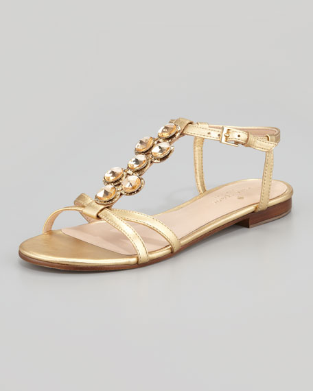 stacey jewel t-strap sandal, gold