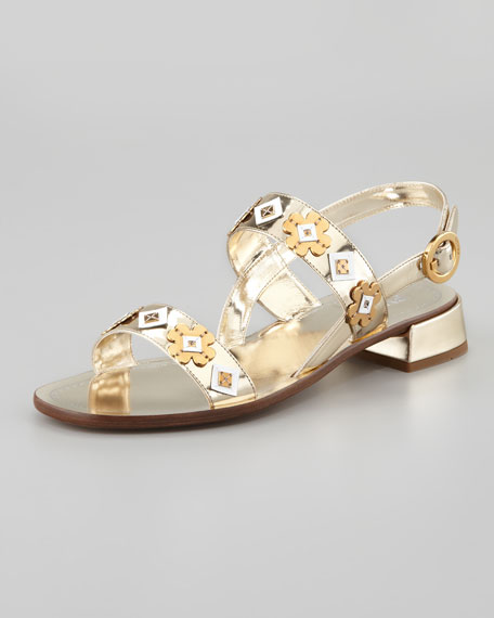 Floral-Charm Mirrored Leather Sandal