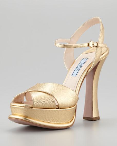 Saffiano Platform Crisscross Sandal, Gold