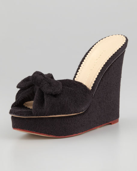 Jayne Knot-Front Terry Wedge, Black