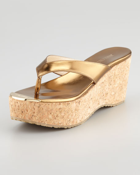 Pathos Metallic Cork Wedge Slide