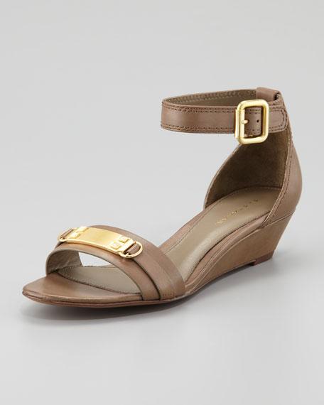 Gemma Low-Wedge Sandal, Cuoio