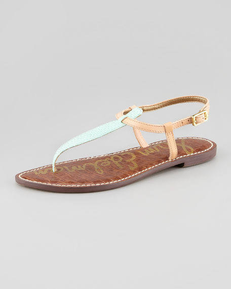 Gigi Two-Tone Embossed Thong Sandal, Mint/Natural