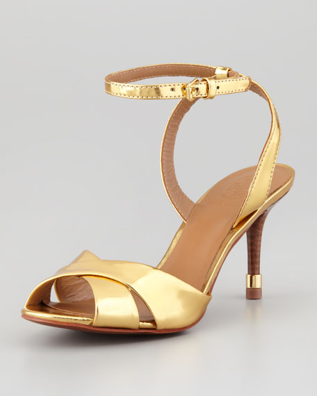 Tania Metallic Ankle-Strap Sandal, Gold