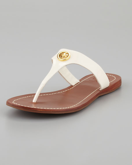 Cameron Patent Logo Thong Sandal, White