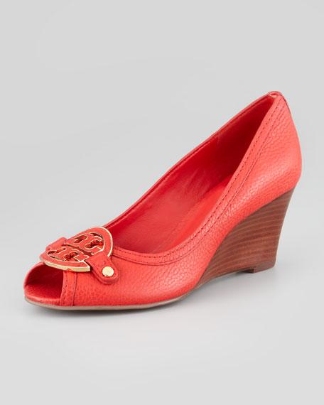 Amanda Peep-Toe Logo Wedge, Red