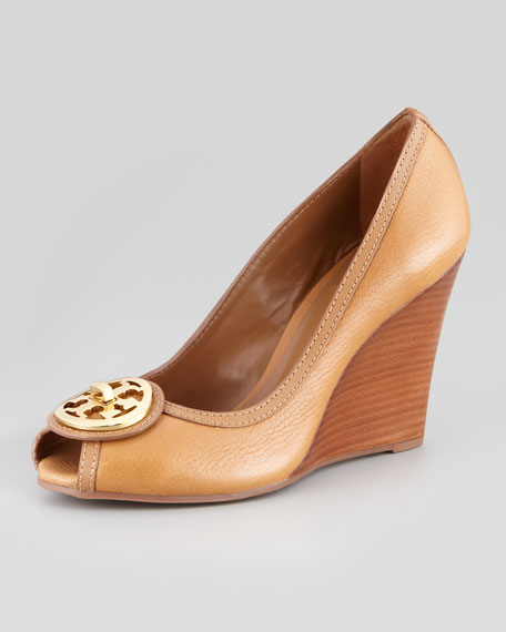 Selma Peep-Toe Logo Wedge, Tan
