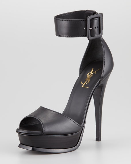 Tribute Ankle Strap Platform Heel, Black