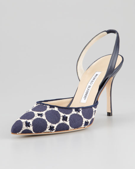 Carolyne Embroidered High-Heel Halter Pump