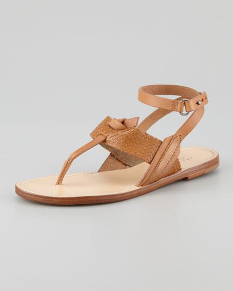 Sigrid Ankle-Wrap Thong Sandal, Tan