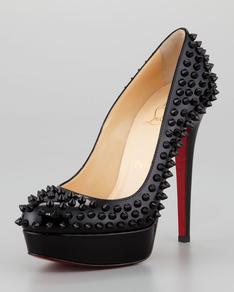 Bianca Spiked Red Sole Platform Pump, Black