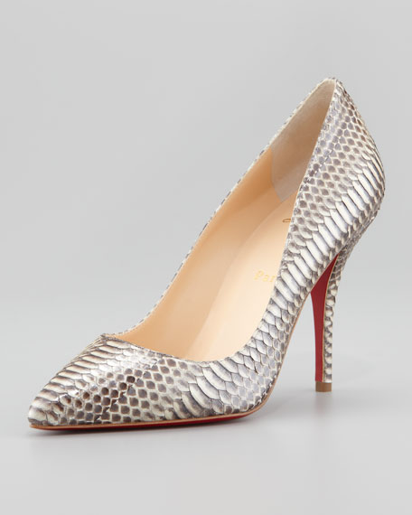 Batignolles Snake Pointed Toe Red Sole Pump
