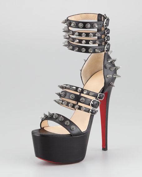 Botticellita Spiked Platform Sandal, Black