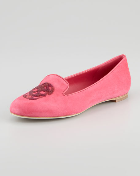 Embroidered Sequined Skull Smoking Slipper, Fuchsia