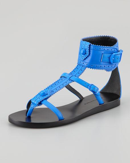 Arena Brogues Neon Flat Sandal, Blue