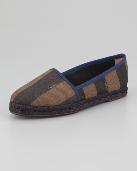 Pequin Striped Espadrille Flat, Blue