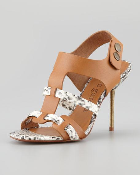 Mariel Python-Print Leather Sandal, Maple